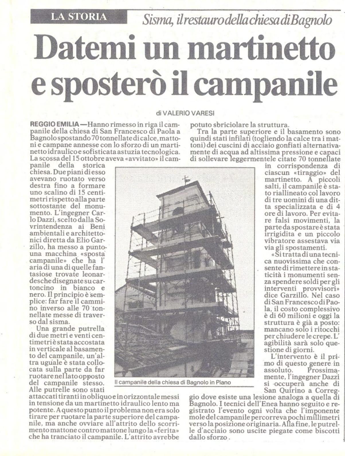 Datemi un martinetto e sposterò il campanile (Di Valerio Varesi) - Sisma, il restauro della Chiesa di Bagnolo (RE), da parte di ITON SRL.