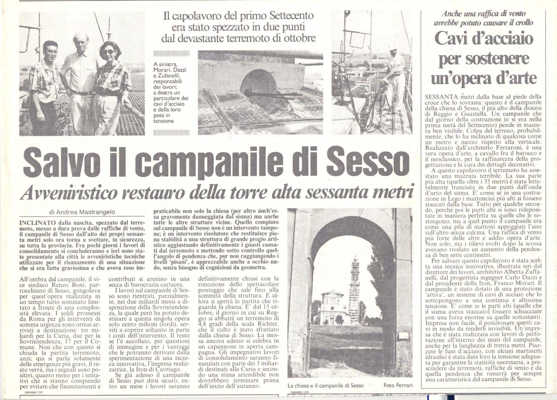 Raddrizzato il campanile di sesso, articolo di quotidiano sull'intervento della ditta ITON SRL